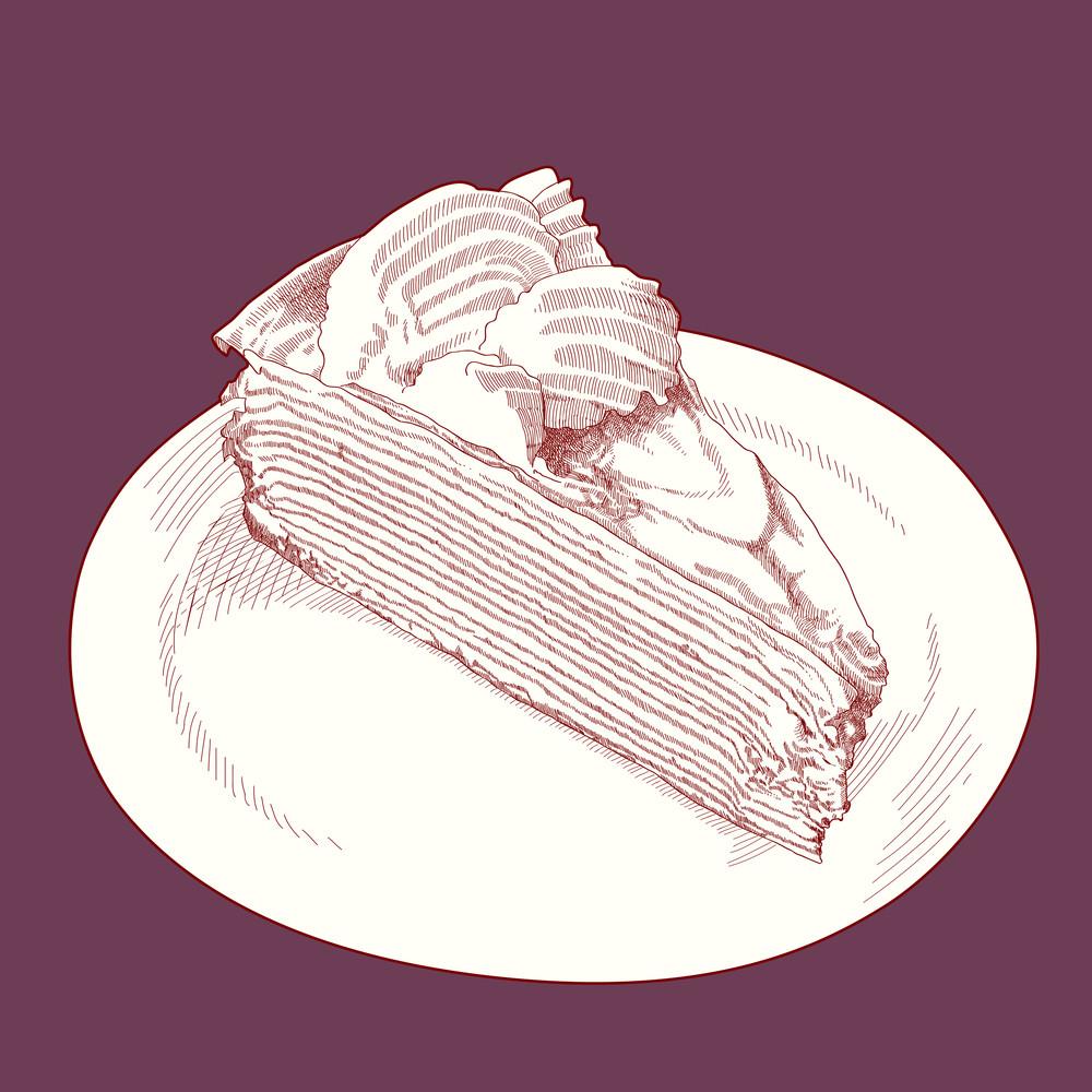 Vector Hand Drawn Slice Of Cake