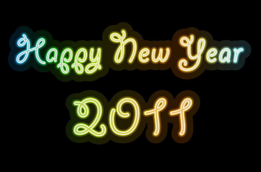 Vector Happy New Year Neon Text