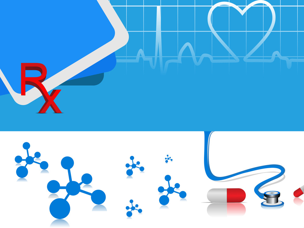 Vector Heart Beat Medical Background With Capsules
