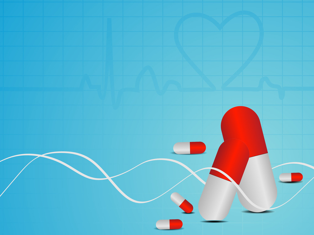 Vector Heart Beat Seamless Medical Background With Capsules