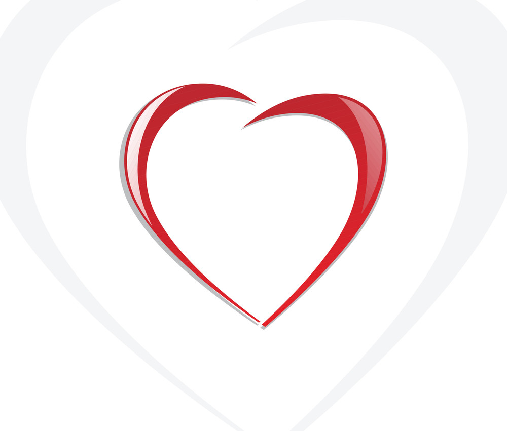 Vector Heart Red Icon On White Background