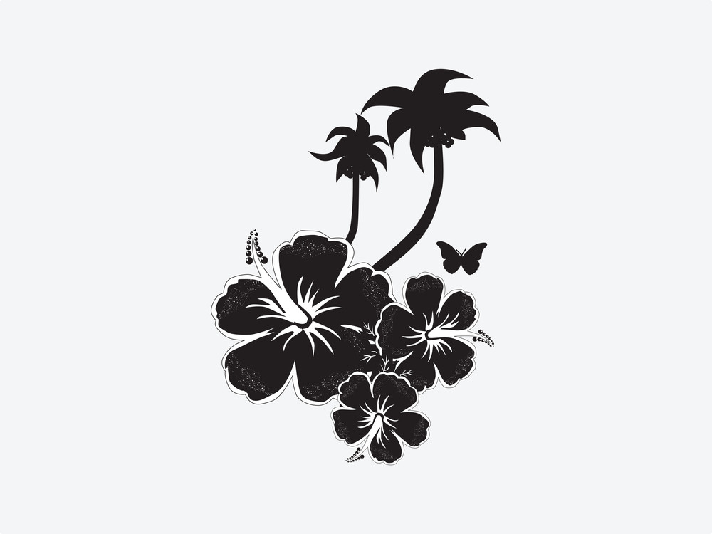 Vector Hibiscus Flower With Butterfly And Tree