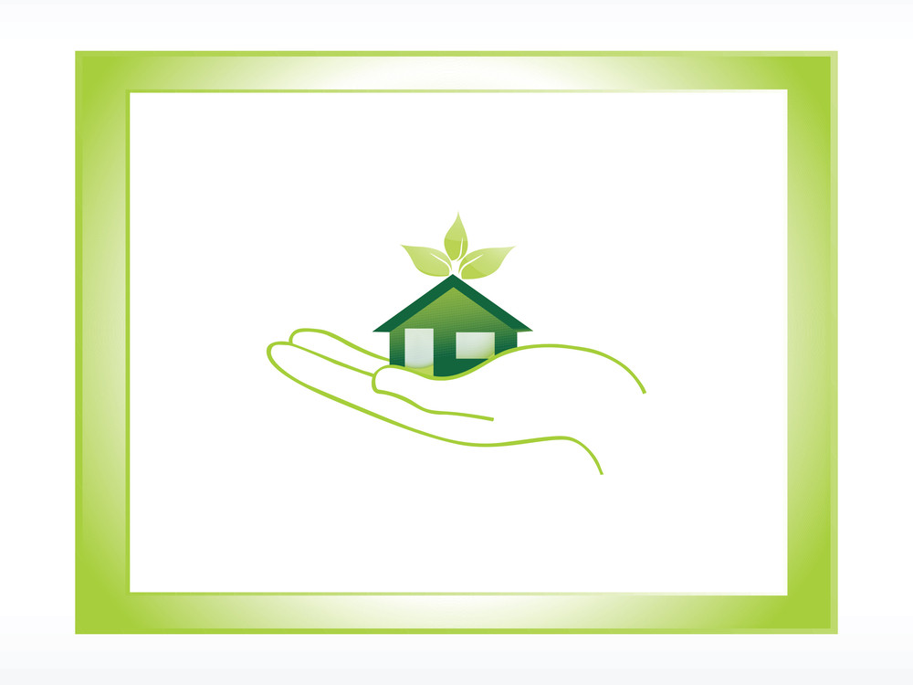 Vector Icon Green House On Hand