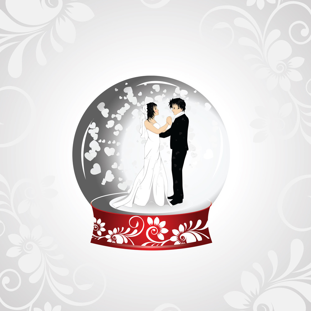 Vector Illistration Of A Loving Couple On Seamless White Background.
