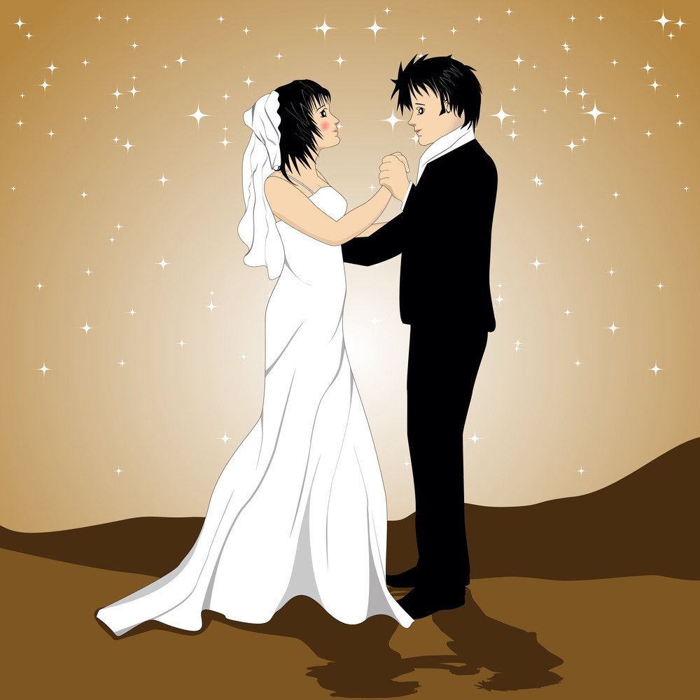 Vector Illistration Of A Loving Couple On Twinkle Star Background For Valentine Day.