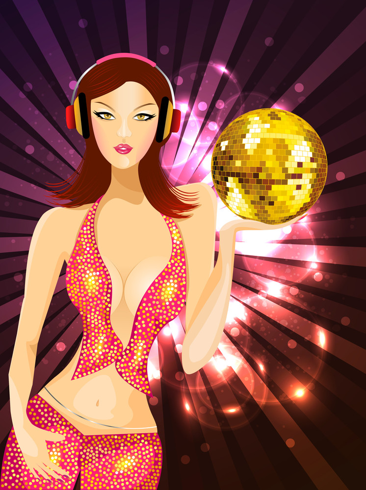 Vector Illustartion Of A Sexy Girl Holding Disco Ball On Hand With Shiney Wave Background10 Background.