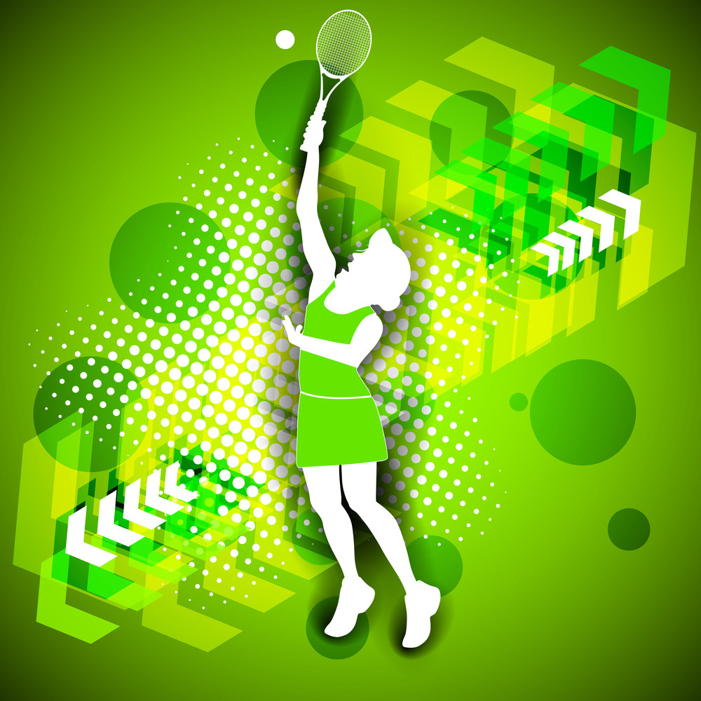 Vector Illustraion Of Girl Playing Tennis