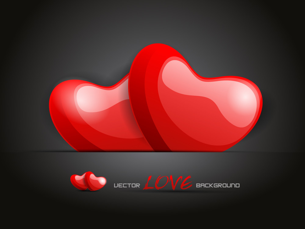 Vector Illustration A Pair Love Heart On Abstract Background.