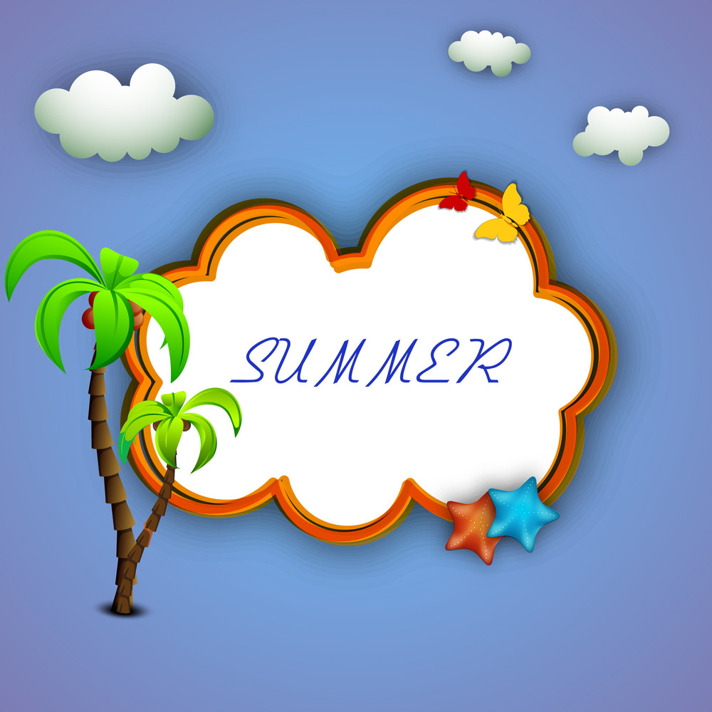 Vector Illustration For Summer Season On Blue Background