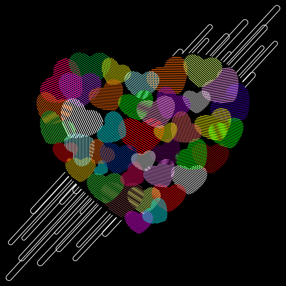 Vector Illustration Of A Colorful Heart Shape On Black Background.