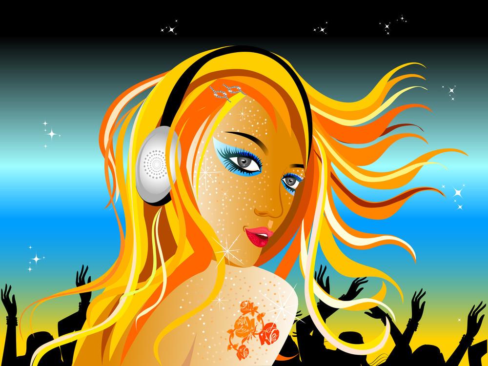 Vector Illustration Of A Dj Girl.