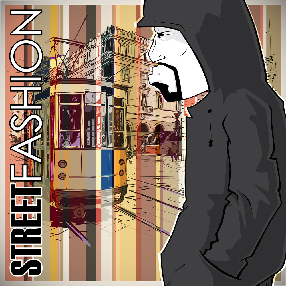 Vector Illustration Of A Graffiti Character And Old Tram.