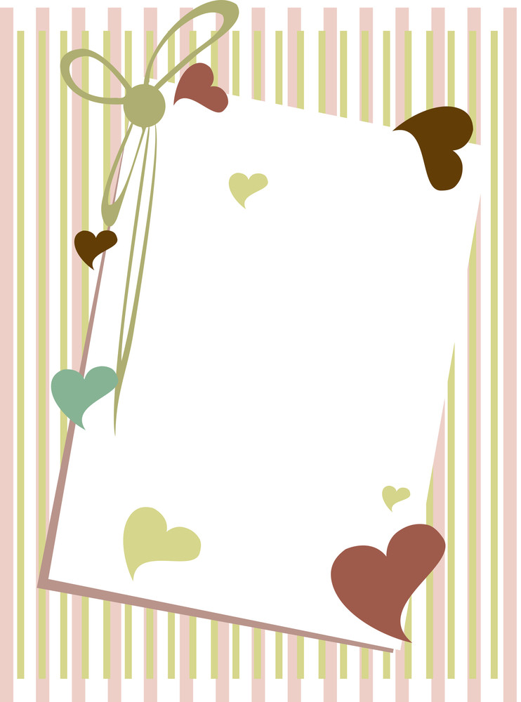 Vector Illustration Of A Greenting Card With Blank Note On Straigh Lines Background.