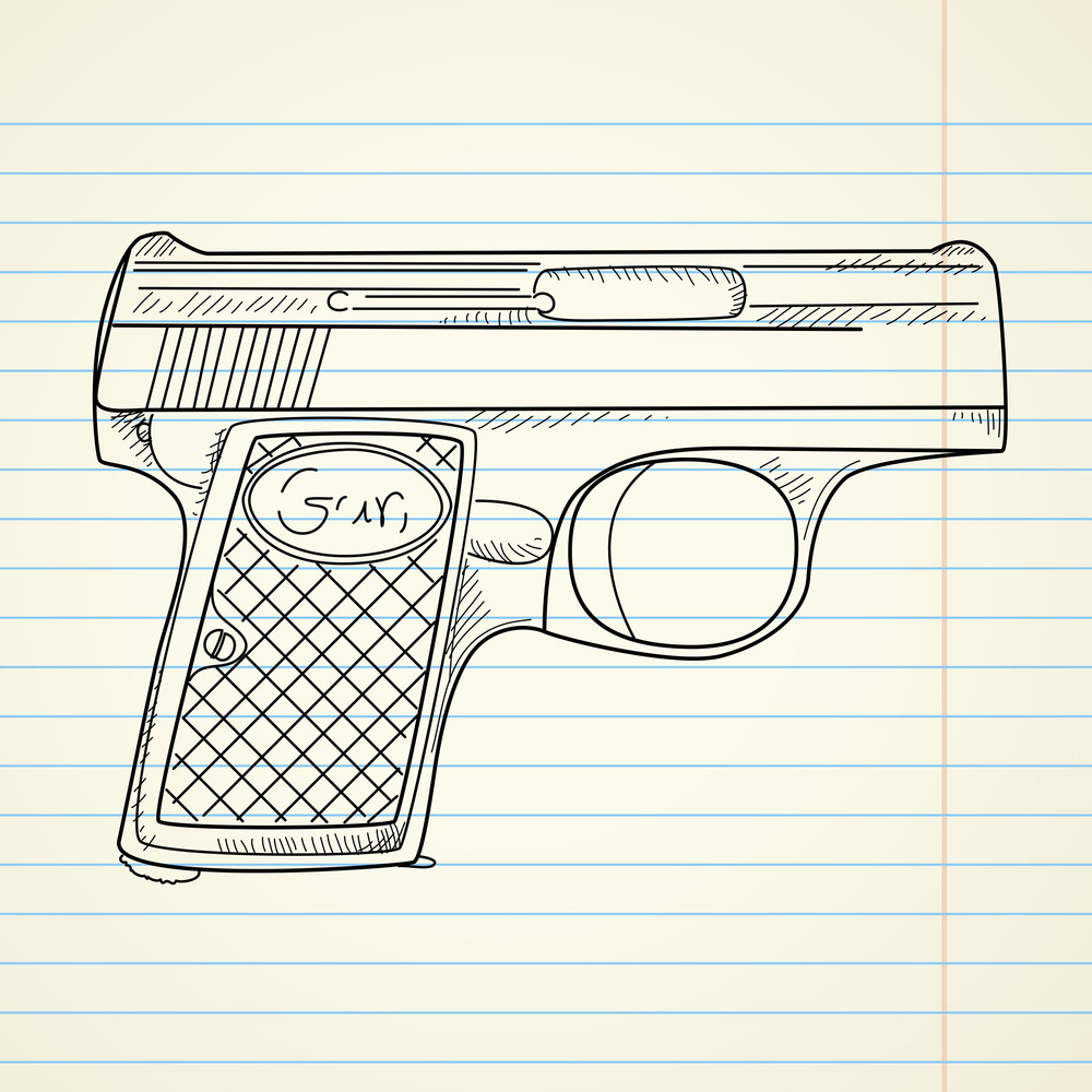 Vector Illustration Of A Gun On Paper Background