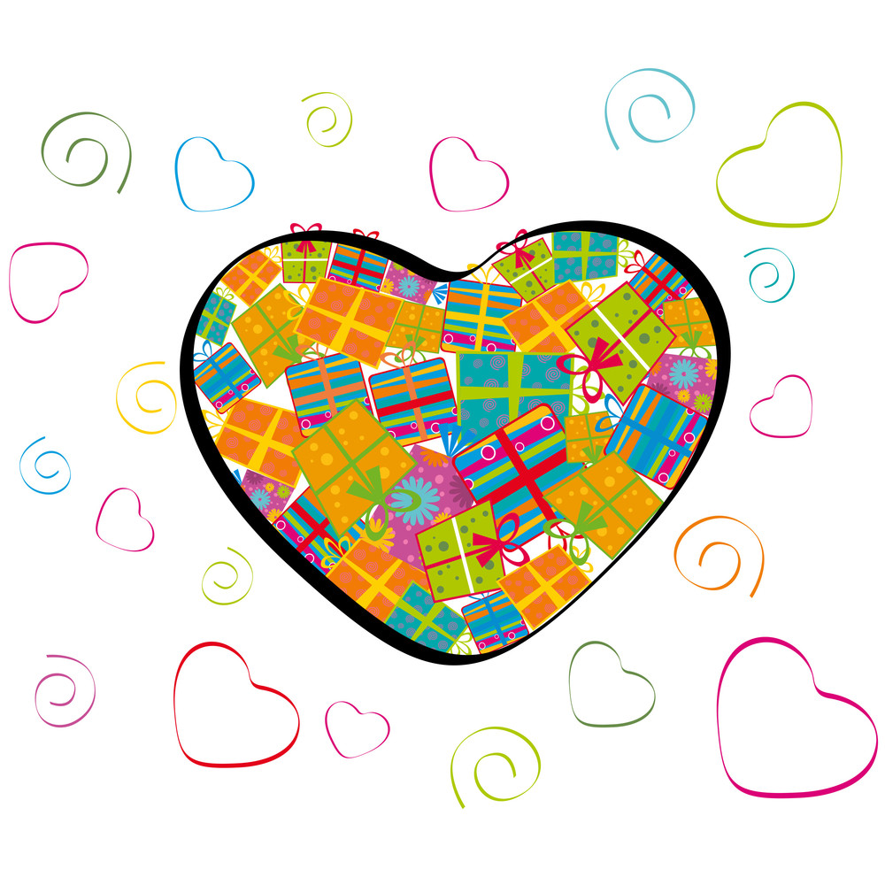 Vector Illustration Of A Heart Shape Fill Up With Gift Boxes.
