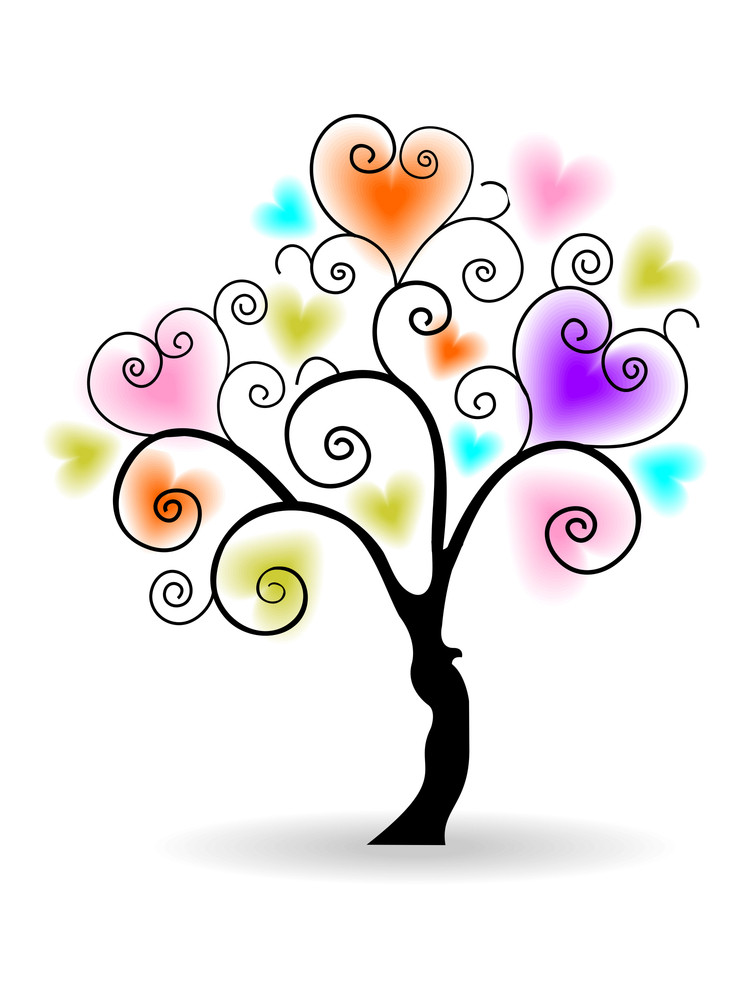 Vector Illustration Of A Love Tree On Isolated White Background.