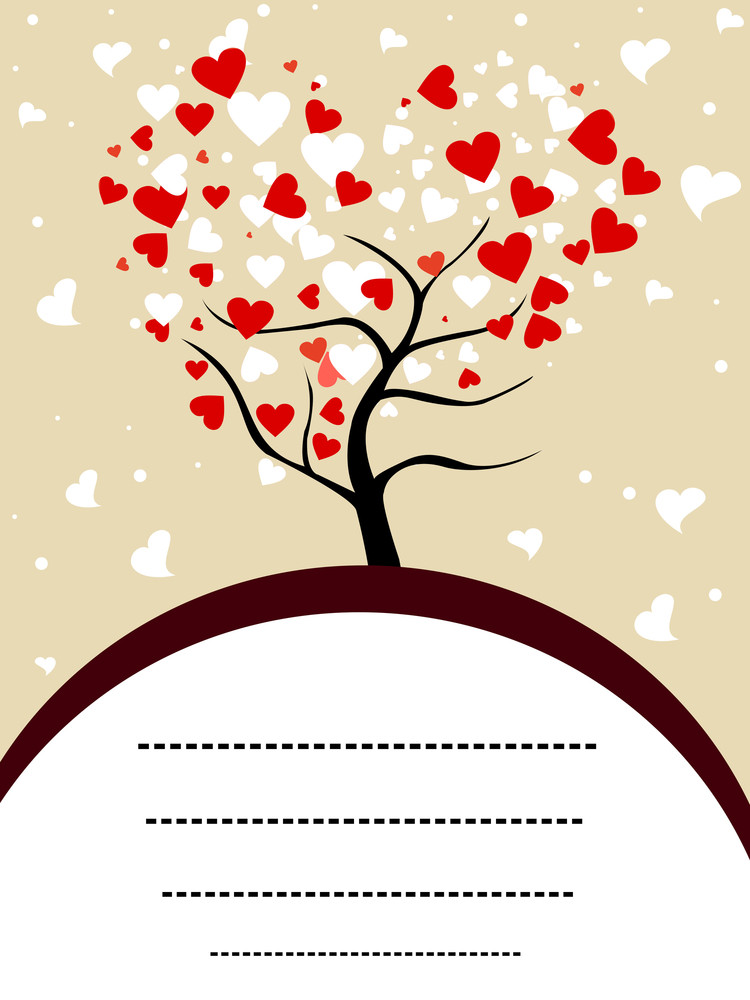 Vector Illustration Of A Love Tree With Copy Space For Your Text.