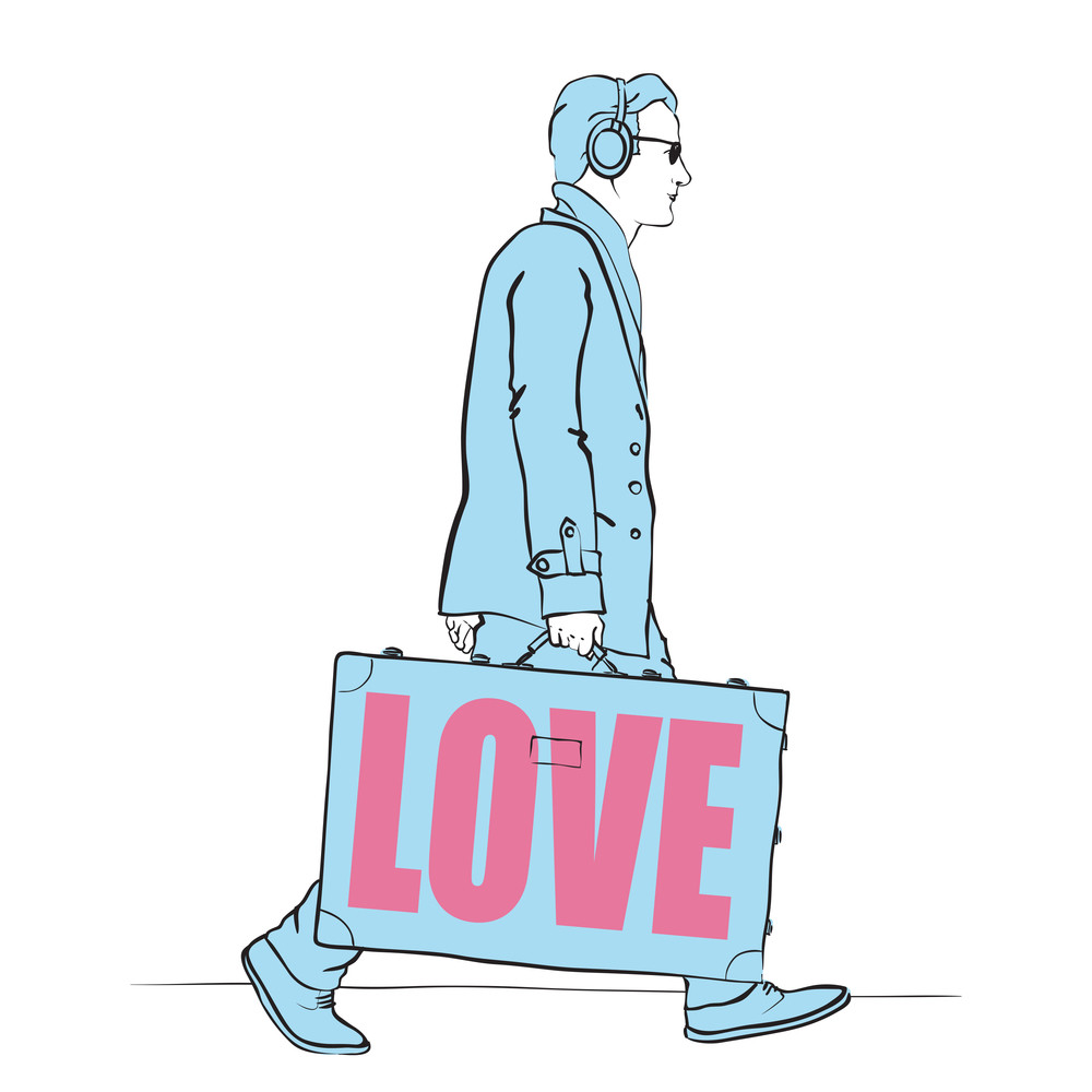 Vector Illustration Of A Men With Travel Bag