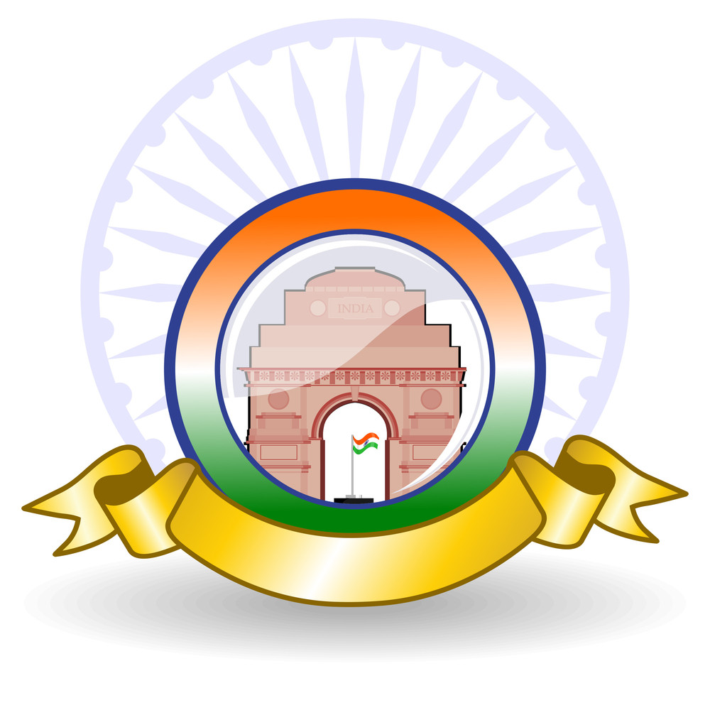 Vector Illustration Of A National Batch With Golden Ribbon On White Background.