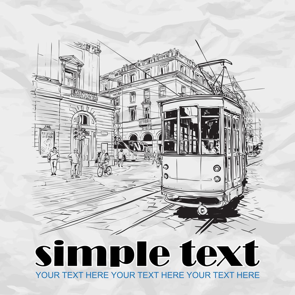 Vector Illustration Of A Old Tram.