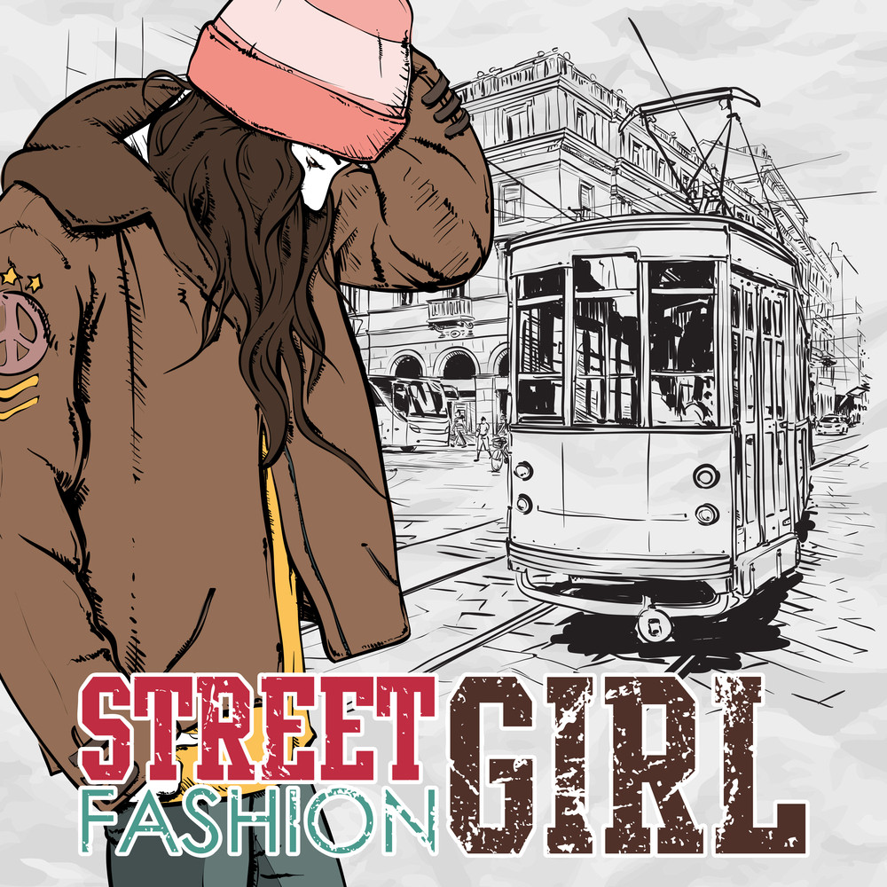 Vector Illustration Of A Pretty Fashion Girl And Old Tram. Vintage Style.