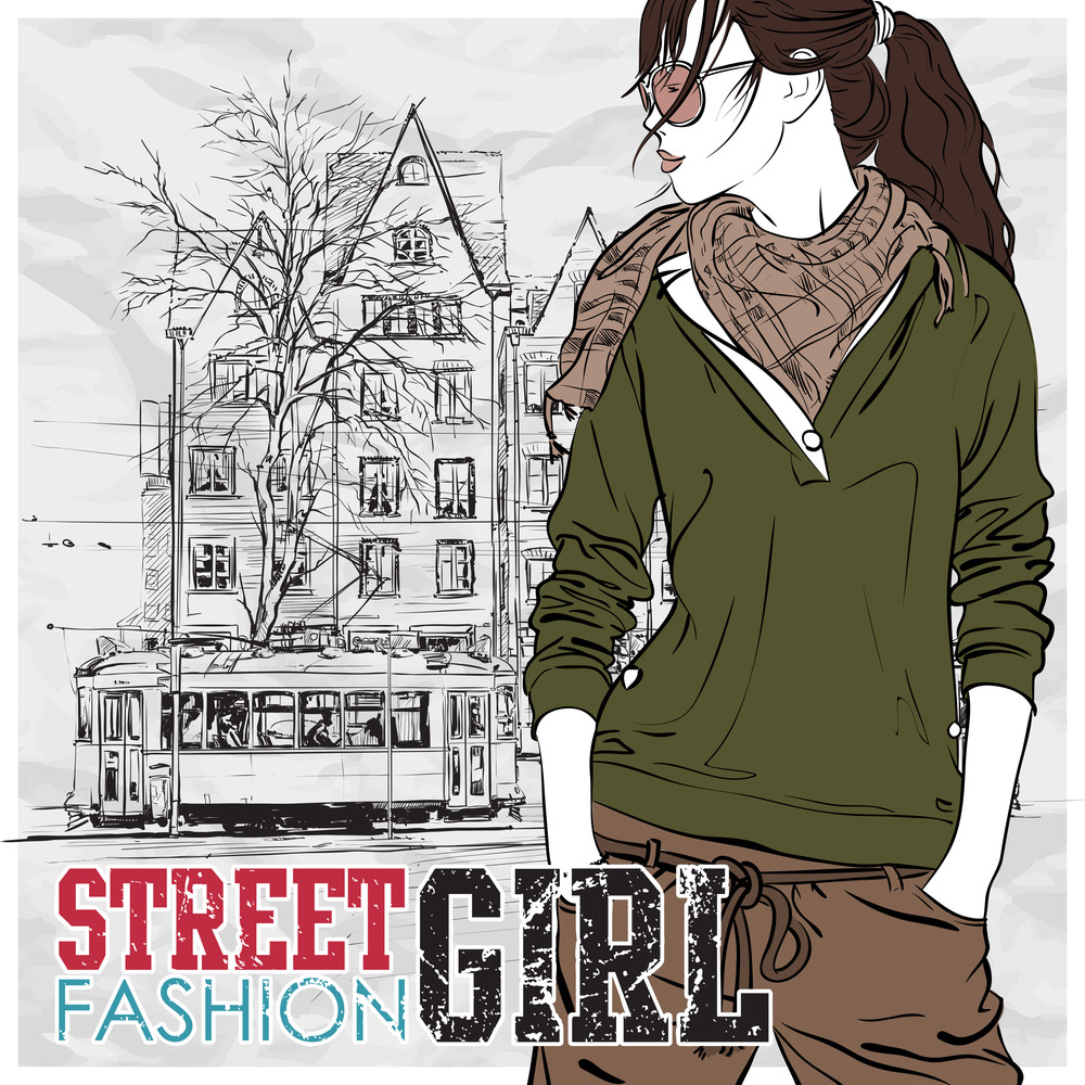 Vector Illustration Of A Pretty Fashion Girl And Old Tram.