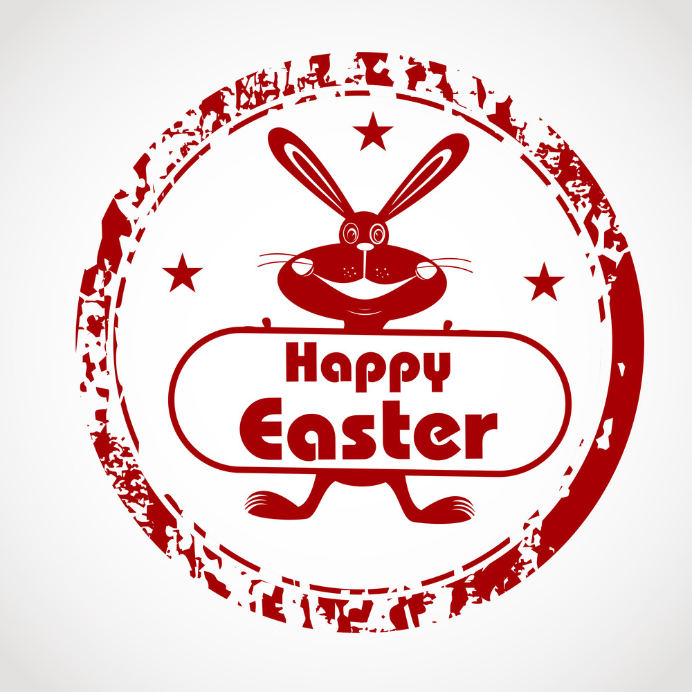 Vector Illustration Of A Rubber Stamp In Red Color For Happy Easter.