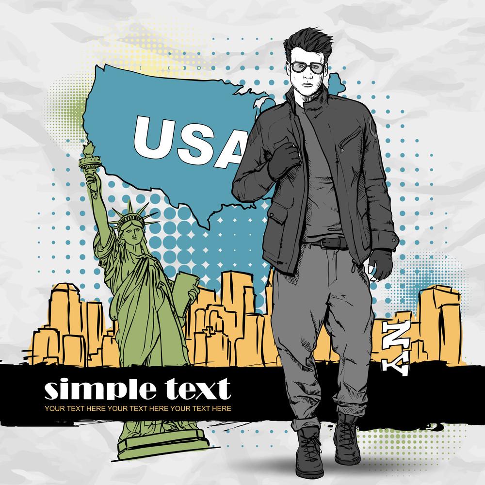 Vector Illustration Of A Stylish Gu On A Usa-background.