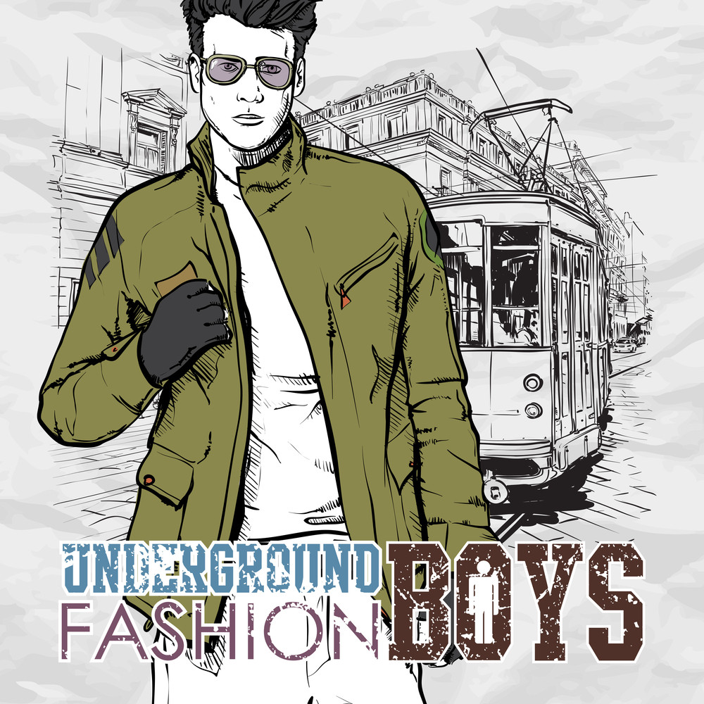 Vector Illustration Of A Stylish Guy And Old Tram.