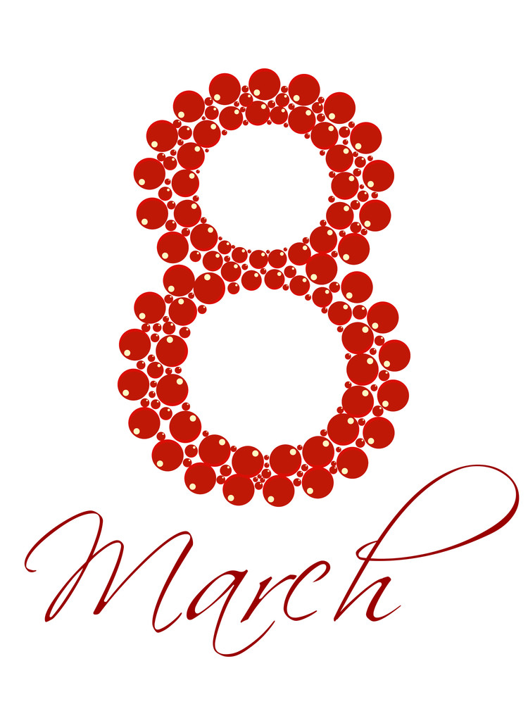 Vector Illustration Of A Text 8 March For International Womens Day.