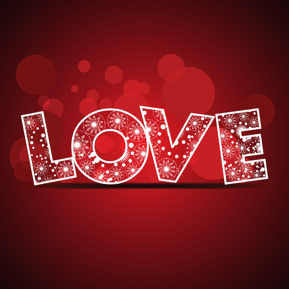 Vector Illustration Of A Text Love On Red Color Background For Valentines Day.