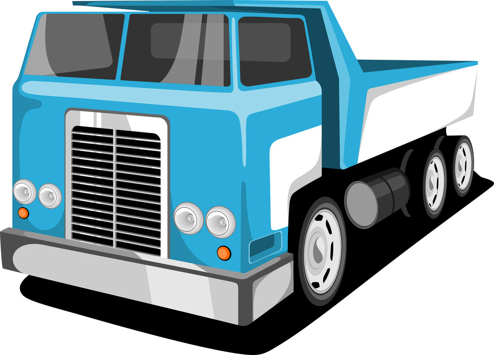Vector Illustration Of A Transportation Classic Truck Or Loader Jeep.