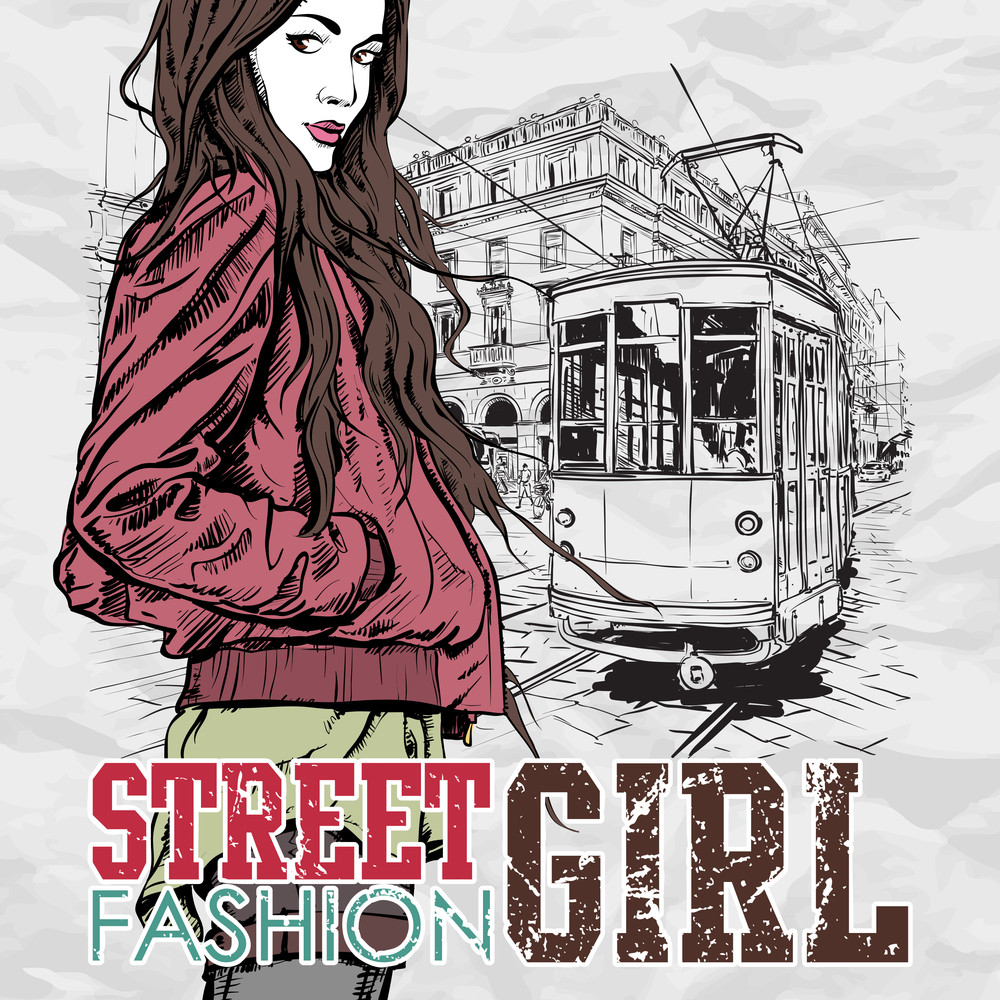 Vector Illustration Of A Young Fashion Girl And Old Tram.