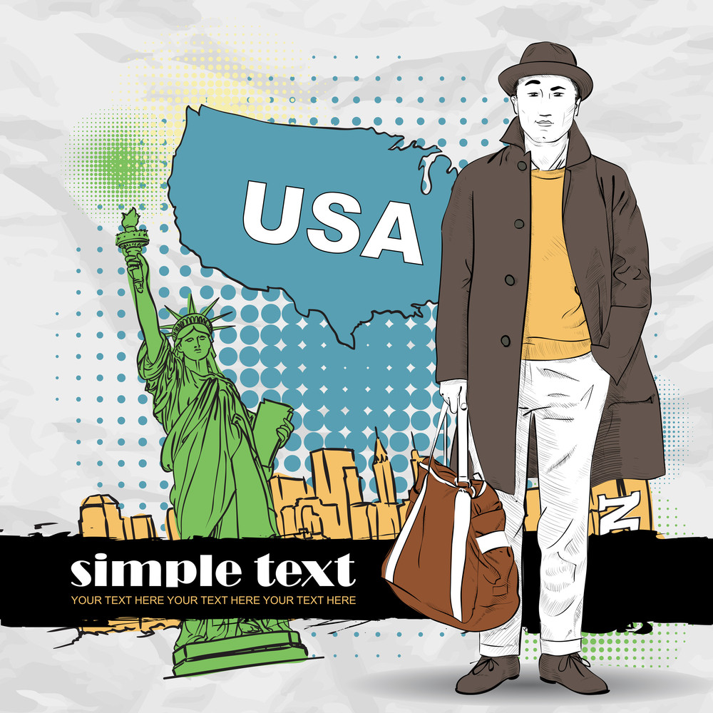 Vector Illustration Of A Young Man In Sketch-style On A Usa-background.