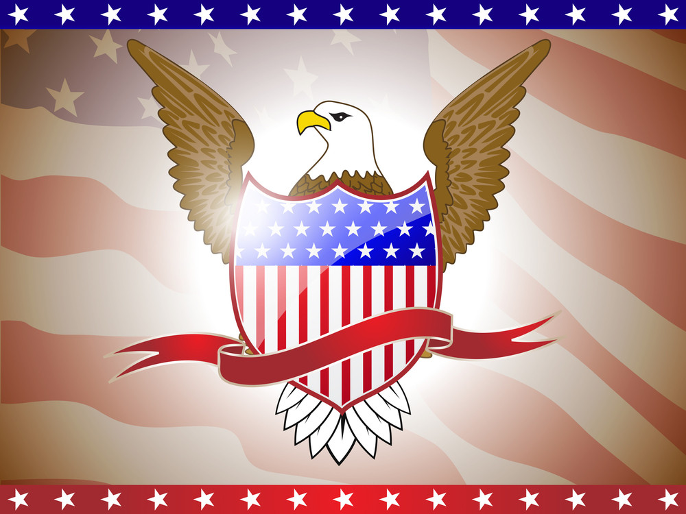 Vector Illustration Of American Flag With Eagle.