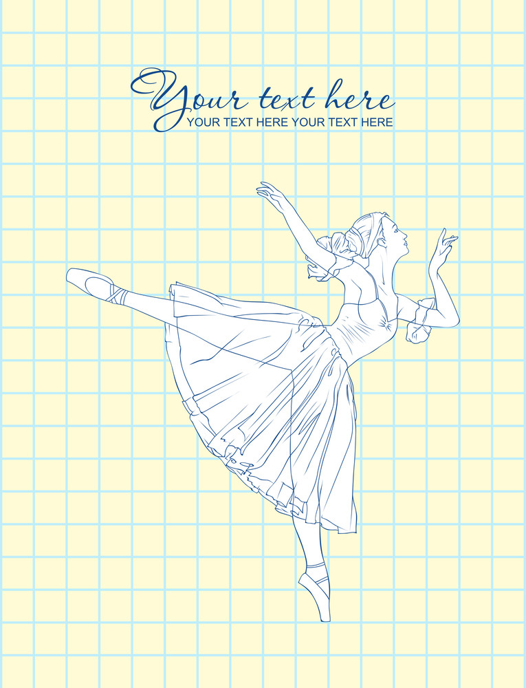 Vector Illustration Of Ballerina In A Writing-book Background.