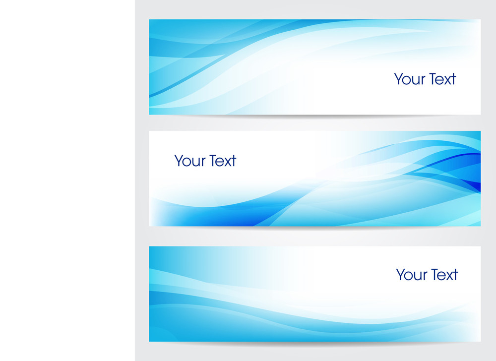 Vector Illustration Of Banners Or Website Headers With Abstract Wave Forms In Blue Color. Eps 10 Format