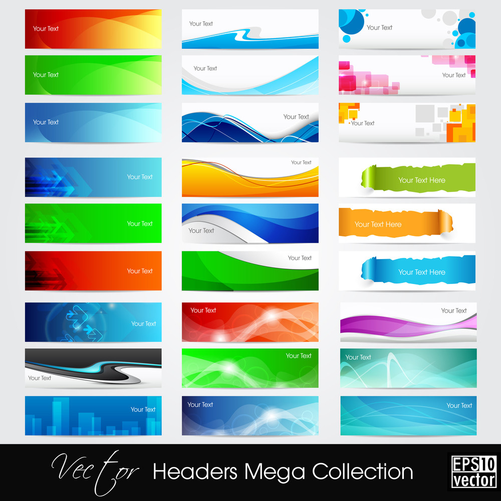 Vector Illustration Of Banners Or Website Headers With Abstract