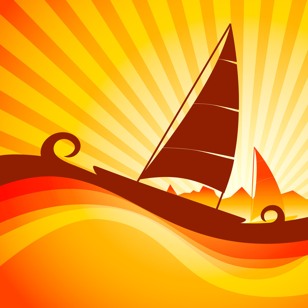 Vector Illustration Of Boat In Sea