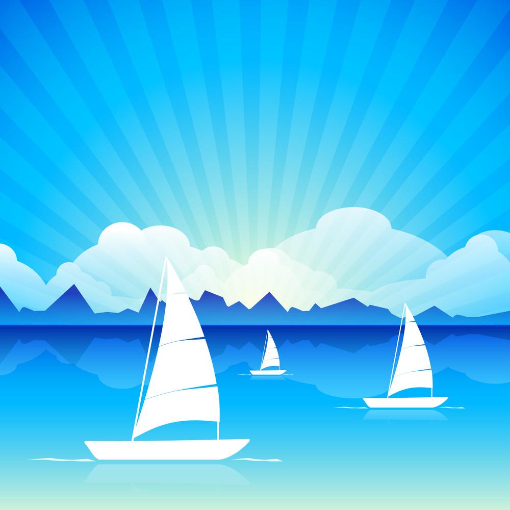 Vector Illustration Of Calm Sea