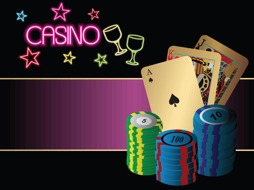 Vector Illustration Of Cards And Chips On Casino Background