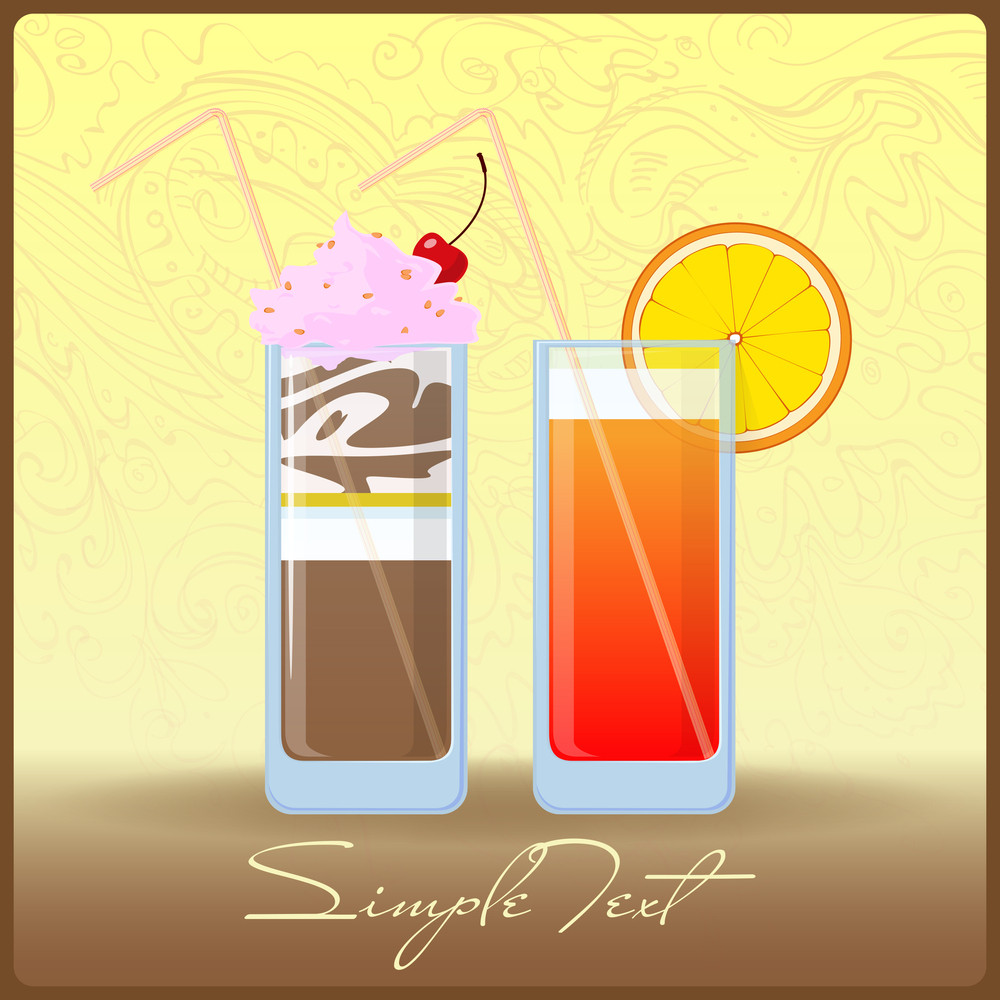 Vector Illustration Of Cartoon Cocktail And Milkshake.eps10