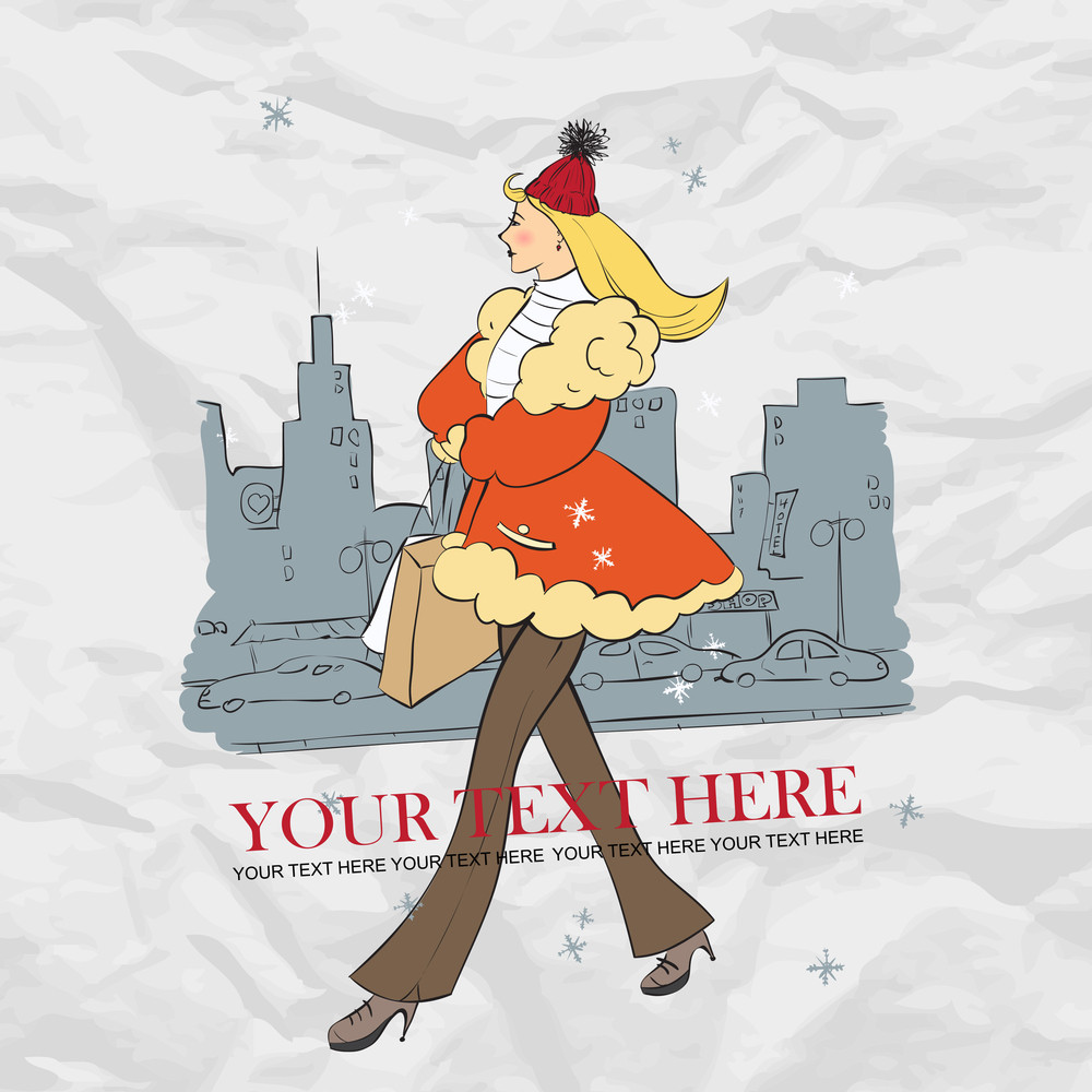 Vector Illustration Of Cartoon Yong Girl On A City-background.