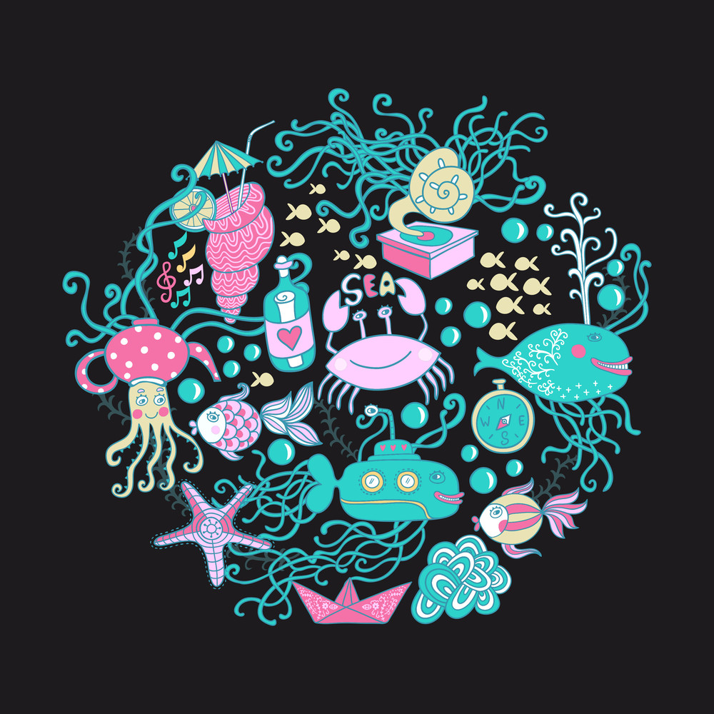 Vector Illustration Of Circle Made Of Sea Life Elements. Bright Summer Outlines Made From Sea Things - Fish