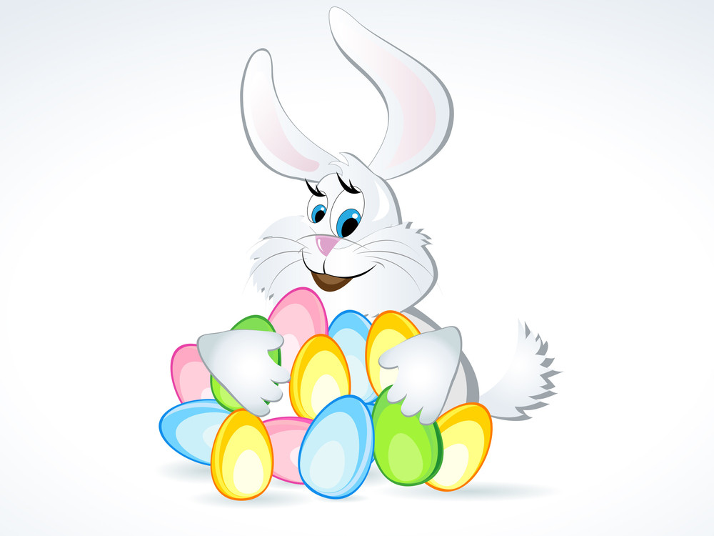 Vector Illustration Of Easter Bunny With Colorful Eggs.
