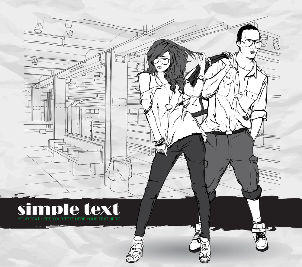 Vector Illustration Of Fashion Girl And Stylish Guy At Subway Station .