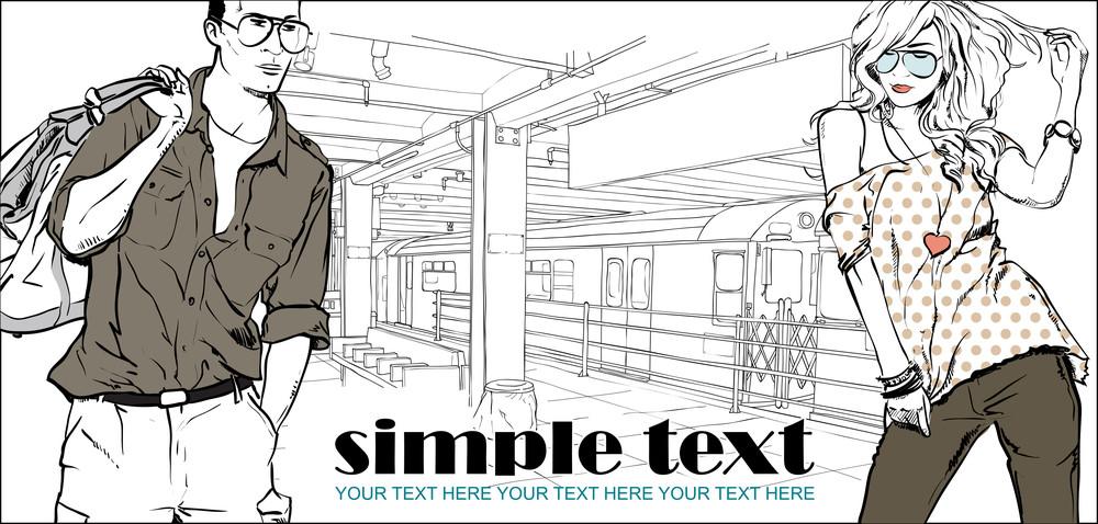 Vector Illustration Of Fashion Girl And Stylish Guy At Subway Station .