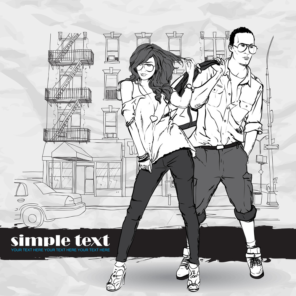 Vector Illustration Of Fashion Girl And Stylish Guy On A Street-background .