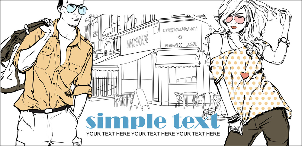 Vector Illustration Of Fashion Girl And Stylish Guy On A Street Cafe-background .