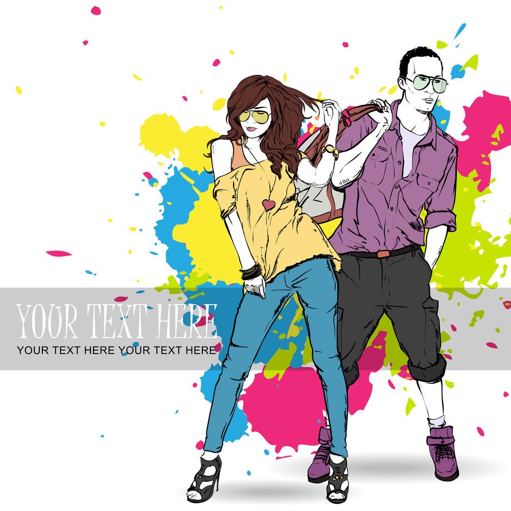 Vector Illustration Of Fashion Girl And Stylish Guyin Cketch Style .